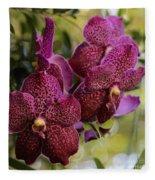 Purple Orchids With Bokeh Fleece Blanket