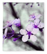 Purple Pink Blossoms Fleece Blanket
