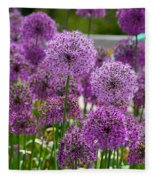 Purple Pom Poms Fleece Blanket
