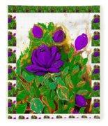 Purple Roses From The Garden 2 Fleece Blanket