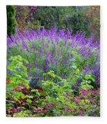 Purple Salvia In The Garden Fleece Blanket