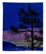 Purple Sunset Bay Fleece Blanket