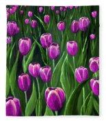Purple Tulip Field Fleece Blanket