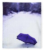 Purple Umbrella Fleece Blanket