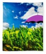Purple Umbrella In A Field Of Corn Fleece Blanket