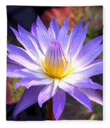Purple Waterlily With Fall Lilypads Fleece Blanket