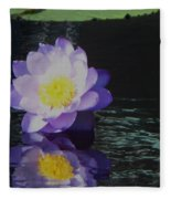 Purple White Yellow Lily Fleece Blanket