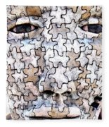 Puzzled Man No2 Fleece Blanket