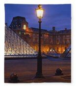 Pyramid At A Museum, Louvre Pyramid Fleece Blanket