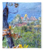 Pyramid Houses In Fall Watercolors Fleece Blanket