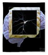 Pyramidal Neuron And Brain Fleece Blanket
