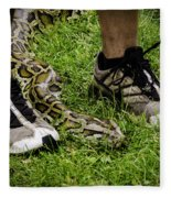 Python Snake In The Grass And Running Shoes Fleece Blanket