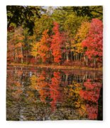 Quabbin Reservoir Fall Foliage Fleece Blanket