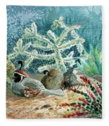 Quail At Rest Fleece Blanket
