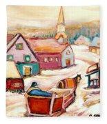 Quebec City Street Scene Caleche Ride In The Village Fleece Blanket
