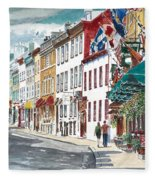 Quebec Old City Canada Fleece Blanket