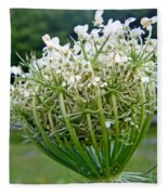 Queen Anne's Lace Flower Unfolded Fleece Blanket