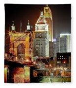 Queen City At Night Fleece Blanket