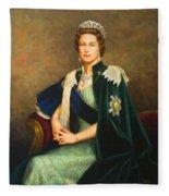 Queen Elizabeth II Portrait - Oil On Canvas Fleece Blanket