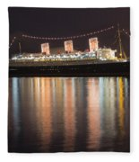 Queen Mary Decked Out For The Holidays Fleece Blanket