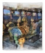 Queen Mary Ocean Liner Bridge 01 Photo Art 01 Fleece Blanket