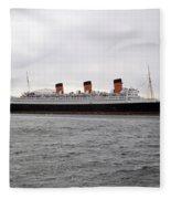 Queen Mary Ocean Liner Full Starboard Side 03 Long Beach Ca Fleece Blanket