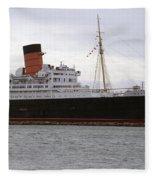 Queen Mary Ocean Liner Starboard Side 05 Long Beach Ca Fleece Blanket