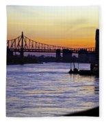 Queensboro Bridge At Night - Manhattan Fleece Blanket