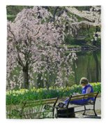 Quiet Time Among The Cherry Blossoms Fleece Blanket