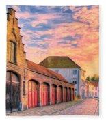 Quiet Village Sunset Fleece Blanket