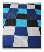 Quilt Blue Blocks Fleece Blanket