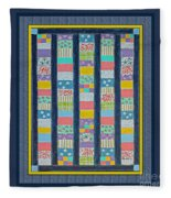 Quilt Painting With Digital Border 2 Fleece Blanket