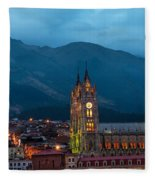 Quito Basilica At Night Fleece Blanket