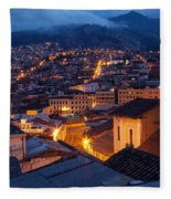 Quito Old Town At Night Fleece Blanket