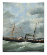 R. Bell And Co.s Steamship Bothal In A Heavy Swell Fleece Blanket