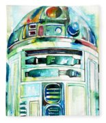 R2-d2 Watercolor Portrait Fleece Blanket