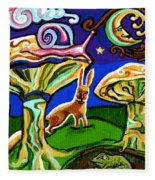 Rabbits At Night Fleece Blanket