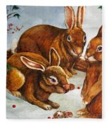Rabbits In Snow Fleece Blanket