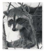 Raccoon - Charcoal Experiment Fleece Blanket