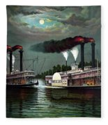 Race Of The Steamers Robert E Lee And Natchez Fleece Blanket