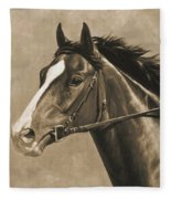 Racehorse Painting In Sepia Fleece Blanket