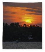 Racing Against The Sunset Fleece Blanket