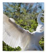 Radiant Great Egret Fleece Blanket