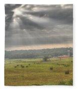 Radiant Light Over The Farm Fleece Blanket