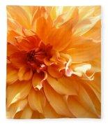 Radiating Orange Dahlia Fleece Blanket