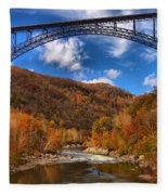 Rafting Down The New River Gorge Fleece Blanket