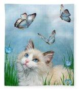 Ragdoll Kitty And Butterflies Fleece Blanket