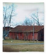 Ragged Red Shed I Fleece Blanket