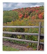 Rail Fence In Autumn Fleece Blanket