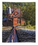Rail Reflection At The Train Station Fleece Blanket